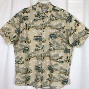 Men's Surfing Themed Hawaiian Camp Shirt Casual L
